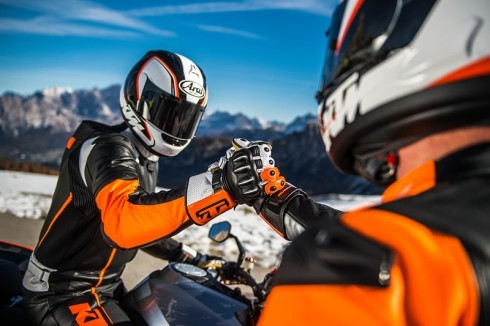 Two riders in KTM road riding gear