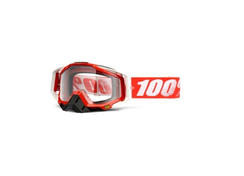 100% RACECRAFT FIRE RED CLEAR LENS