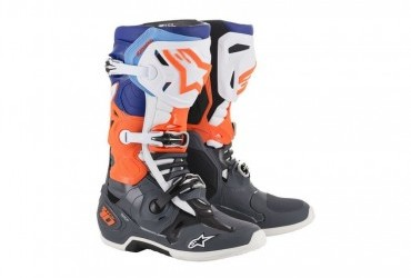 ALPINESTARS TECH 10 BOOT COOL GREY/OANGE FLUO/BLUE/WHITE