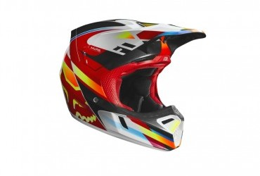 FOX V3 MOTIF HELMET RED/YELLOW