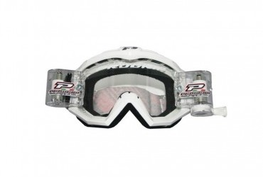 PRO GRIP RACE LINE GOGGLES 3201 + 48MM RNR ROLL OFF WHITE/CLEAR