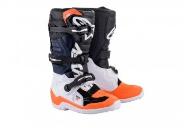 ALPINESTAR KIDS TECH 7S BOOT BLACK/WHITE/FLURO ORANGE