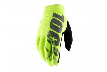 100% Brisker Gloves Fluro Yellow