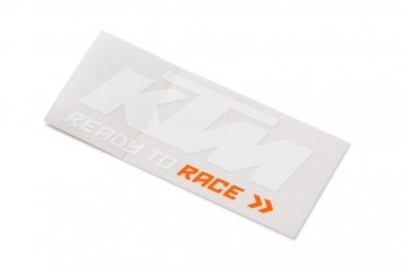 KTM LOGO STICKER WHITE ORANGE
